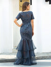 Gorgeous Maxi Mermaid Tulle Evening Dress For Women With Layers-Dusty Navy 5