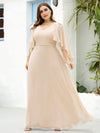 Elegant V Neck Flowy Chiffon Bridesmaid Dresses With Wraps-Blush 20