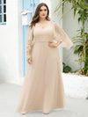 Elegant V Neck Flowy Chiffon Bridesmaid Dresses With Wraps-Blush 17