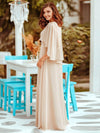 Elegant V Neck Flowy Chiffon Bridesmaid Dresses With Wraps-Blush 2