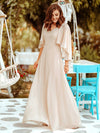 Elegant V Neck Flowy Chiffon Bridesmaid Dresses With Wraps-Blush 3
