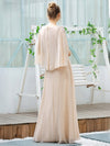 Elegant V Neck Flowy Chiffon Bridesmaid Dresses With Wraps-Blush 13