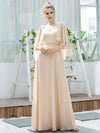 Elegant V Neck Flowy Chiffon Bridesmaid Dresses With Wraps-Blush 14
