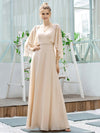 Elegant V Neck Flowy Chiffon Bridesmaid Dresses With Wraps-Blush 15