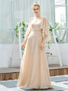 Elegant V Neck Flowy Chiffon Bridesmaid Dresses With Wraps-Blush 12