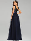 Double V Neck Sequin And Tulle Evening Dresses For Party-Navy Blue 6