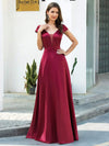 Gorgeous Deep Double V Neck Satin Prom Dress With Cap Sleeves-Burgundy 1