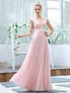 Women'S Cute A-Line V Neck Embroidered Chiffon Bridesmaid Dress-Pink 3