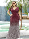 Sexy V Neck Mermaid Sequin Evening Dress With Short Sleeve-Burgundy 6