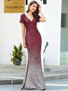 Sexy V Neck Mermaid Sequin Evening Dress With Short Sleeve-Burgundy 4