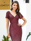 Sexy V Neck Mermaid Sequin Evening Dress With Short Sleeve-Burgundy 5