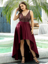 Sparkly Plus Size Prom Dresses For Women With Irregular Hem-Burgundy 4