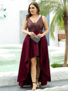 Sparkly Plus Size Prom Dresses For Women With Irregular Hem-Burgundy 3