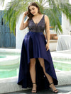 Sparkly Plus Size Prom Dresses For Women With Irregular Hem-Navy Blue 4