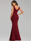 Sexy Sleeveless Long Mermaid Evening Dresses-Burgundy 2