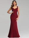 Sexy Sleeveless Long Mermaid Evening Dresses-Burgundy 1
