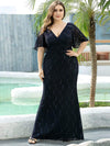 Elegant Ruffle Sleeves Mermaid Lace Evening Dresses With Beads-Navy Blue 8