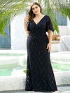 V Neck Flowy Sleeve Plus Size Fishtail Lace Evening Dresses-Navy Blue 4