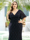 V Neck Flowy Sleeve Plus Size Fishtail Lace Evening Dresses-Navy Blue 5