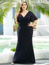 Elegant Ruffle Sleeves Mermaid Lace Evening Dresses With Beads-Navy Blue 6