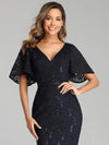 Elegant Ruffle Sleeves Mermaid Lace Evening Dresses With Beads-Navy Blue 5