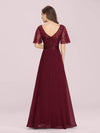Romantic Round Neck Ruffle Sleeves Chiffon & Sequin Prom Dress-Burgundy 2
