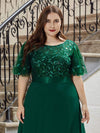 Elegant Plus Size A-Line Chiffon Evening Dress With Sequin-Dark Green 5