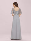 Romantic Round Neck Ruffle Sleeves Chiffon & Sequin Prom Dress-Grey 2