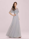 Romantic Round Neck Ruffle Sleeves Chiffon & Sequin Prom Dress-Grey 3