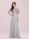 Romantic Round Neck Ruffle Sleeves Chiffon & Sequin Prom Dress-Grey 4