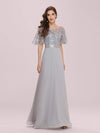 Romantic Round Neck Ruffle Sleeves Chiffon & Sequin Prom Dress-Grey 1