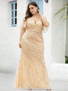 Fashion Plus Size V Neck Mermaid Sequin & Tulle Dress-Gold 3