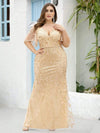 Fashion Plus Size V Neck Mermaid Sequin & Tulle Dress-Gold 4