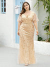 Fashion Plus Size V Neck Mermaid Sequin & Tulle Dress-Gold 1