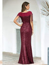 Women'S Sexy Fishtail Sequin Evening Dress With Tassels-Burgundy 2