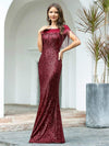 Women'S Sexy Fishtail Sequin Evening Dress With Tassels-Burgundy 4