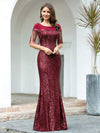 Women'S Sexy Fishtail Sequin Evening Dress With Tassels-Burgundy 1