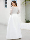 Elegant Plus Size A-Line Lace Long Sleeves Wedding Dress-White 2