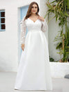 Elegant Plus Size A-Line Lace Long Sleeves Wedding Dress-White 3