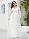 Elegant Plus Size A-Line Lace Long Sleeves Wedding Dress-White 4