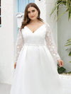 Elegant Plus Size A-Line Lace Long Sleeves Wedding Dress-White 5