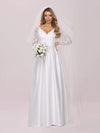 Elegant Simple Satin Wedding Gown With Lace Long Sleeves-White 6