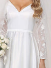 Elegant Simple Satin Wedding Gown With Lace Long Sleeves-White 9