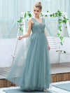 Women'S Fashion A-Line  Floor Length Bridesmaid Dress-Dusty Blue 4