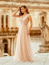 Women'S Fashion A-Line  Floor Length Bridesmaid Dress-Rose Gold 6