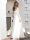 Elegant Round Neckline Tulle Wedding Dresses With Floral Lace-Cream 2