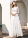 Elegant Round Neckline Tulle Wedding Dresses With Floral Lace-Cream 3