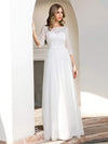 Elegant Round Neckline Tulle Wedding Dresses With Floral Lace-Cream 4