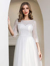 Elegant Round Neckline Tulle Wedding Dresses With Floral Lace-Cream 5