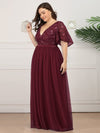 Plus Size V-Neck Ruffle Sleeve Embroidery Tulle Bridesmaid Dress-Burgundy 8